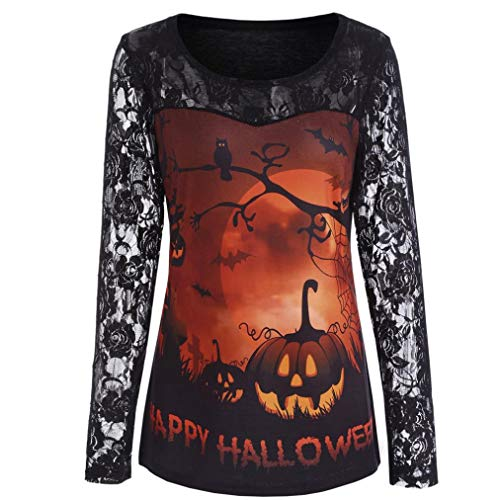 (MIRRAY Damen Halloween Bluse Lässige Spitze Print Langarm Kürbis Shirt Bluse Halloween Kostüm)