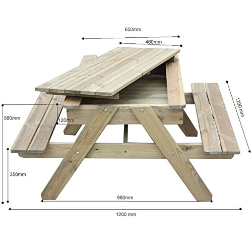 Gartenset für Kinder mit Sandkasten, Holz-Picknicktisch und Gartenbank mit 4 Sitzen - 4