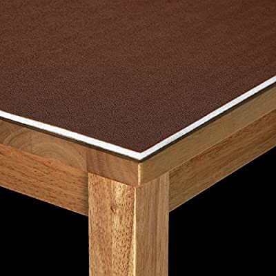 Dark Brown Leather Look Luxury Executive Thick Felt Heat Scratch Resistant Table Protector Table Cloth 110cm Width - low-cost UK light shop.