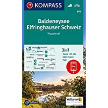 Baldeneysee, Elfringhauser Schweiz, Wuppertal: 3in1 Wanderkarte 1:25000 mt Aktiv Guide inklusive Karte zur offline Verwendung in der KOMPASS-App. Fahrradfahren. (KOMPASS-Wanderkarten, Band 493)