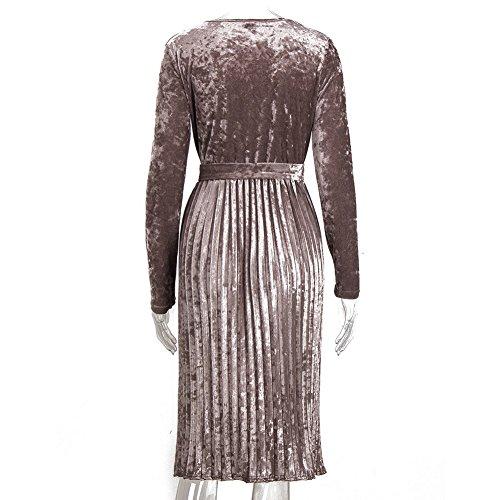 Robe en Velours pour Femme Retro Tunique Col Rond Manches Longues Robe de Hiver Longue Robe Pour Cocktail Soirée Bal Top Grande Taille S-XL Gris