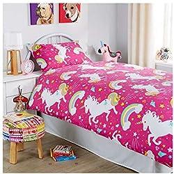 Linensrange Modern Unicorn Poly Cotton Duvet Quilt Cover Bedding Set (Single, Pink)