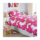 Linensrange - Set di biancheria da letto con copripiumino, stile moderno, motivo unicorno, in policotone, (singolo, colore: rosa)