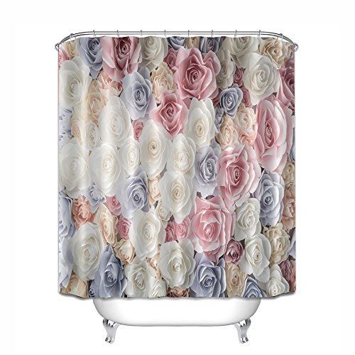 Vintage Blumen-muster (Vintage Romantic Rose Blumen Muster, wasserdicht, Baden Duschvorhang Liner antibakteriell, Schimmel Wasserdicht Polyester Bad Washroom, WC-Bad Duschvorhang Dekor mit Haken, Polyester, 07, 180x180)