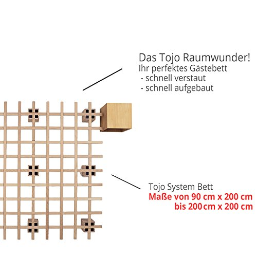 Tojo Bett - Tojo system Funktionsbett -140 x 200 cm - Ideal als Gästebett, Studentenbett, Jugendbett - Das flexible Raumwunder - Unbehandeltes Holzbett ohne Schrauben, Beschläge - 2