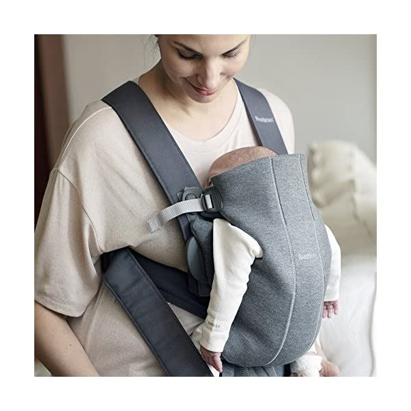 BABYBJÖRN Baby Carrier Mini, 3D Jersey,  Dark Grey Baby Bjorn Perfect first baby carrier for a new-born Small and easy to use 3D Jersey - Our newest and softest material is as snug as your comfiest T-shirt 4