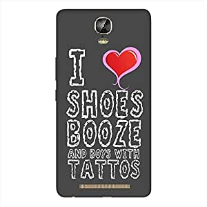 Mobo Monkey Designer Printed Back Case Cover for Gionee Marathon M5 Plus (Girl :: I Love Shoes Booze And Boys :: Swag :: Typography :: Girlish)