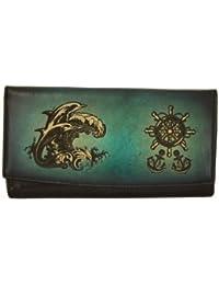 Cuero genuino bolso de embrague azul de la vendimia con un Dolphins de buceo para impresión láser Decoración