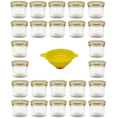 Viva Haushaltswaren - 24 x Marmeladenglas 125 ml mit goldfarbenem Verschluss, runde Sturzgläser als Einmachgläser, Gewürzgläser, Glasdosen etc. verwendbar (inkl. Trichter)