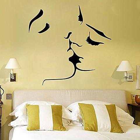 GenialES Beso Pegatina de Pared DIY Vinilo Decorativo Adhesivo PVC para Dormitorio 55*57cm