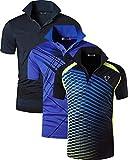 jeansian Herren Men's 3 Mix Packs Sport Quick Dry Short Sleeves Polo T-Shirt Tee LSL195_MixPackC XLPackH