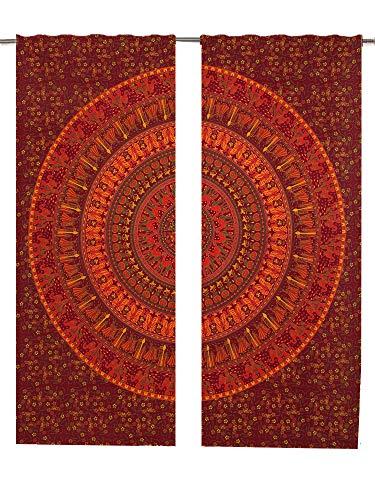 Mandala Gardinen Einsätze Paar 82Länge, 2Stück Pfau indischen Bohemian Mandala Boho Vorhang Set Wall Fenster, Mandala Tapisserie Boho dekorativen Gardinen Fenster Vorhang Fenster Behandlung Panel (Dekorative Fenster-panels)