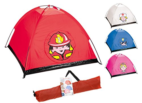 feuerwehrzelt matrasa Kinderzelt - Prinzessin Krankenschwester Feuerwehr Polizei - Spielzelt für Kinder innen/außen (pink)