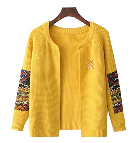 COCO clothing Basic Patchwork Aperto Cardigan Donna Manica Lunga Maglione Girocollo Casual Corte Tops Sweater Outwear Giallo