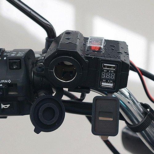 YGL Motocicletta Impermeabile Caricatore USB 5 V 2.1A/2.1A Porte USB Doppie 12V Accendisigari per Auto Presa di Corrente con Interruttore di Alimentazio