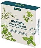Tregrem - Kit de 4 capsules de graines de Basilic, Thym, Persil et Origan - Herbes aromatiques pour Potager d'intérieur autonome