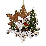 Weihnachtsdeko beleuchteter Stern mit Weihnachtszene Schneemann Weihnachtsdekoration aus Holz und LED Beleuchtung Fensterbild für Weihnachten