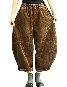 Youlee Mujeres Invierno Otoño Cintura elástica Linternas Pantalones Pantalones de pana