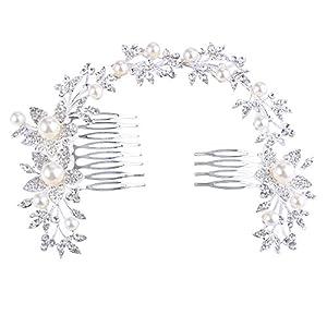 Clearine Damen Böhmisch Sonnenblume Blatt Ivory-Farbe Künstliche Perlen Kristall Haarkamm Haarschmuck
