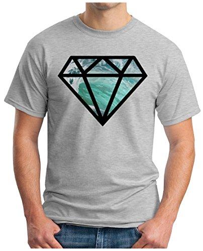 OM3 - DOPE DIAMOND - T-Shirt Crystal Meth Music House Trance RnB Hip Hop Rap Indie Rock Funk Geek, S - 5XL Grau Meliert