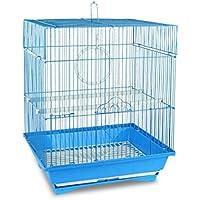 189092 Gabbia per uccelli di piccole dimensioni TITTI 43.5X28.5X22 cm due mangiatoie. MEDIA WAVE store ® (Azzurro)