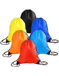 WXJ13 6 piezas cordón bolsa Cinch gimnasio bolsas de almacenamiento mochila