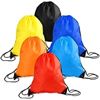 WXJ13 6 Pieces Drawstring Tote Bag Cinch Gym Bags Storage Backpack