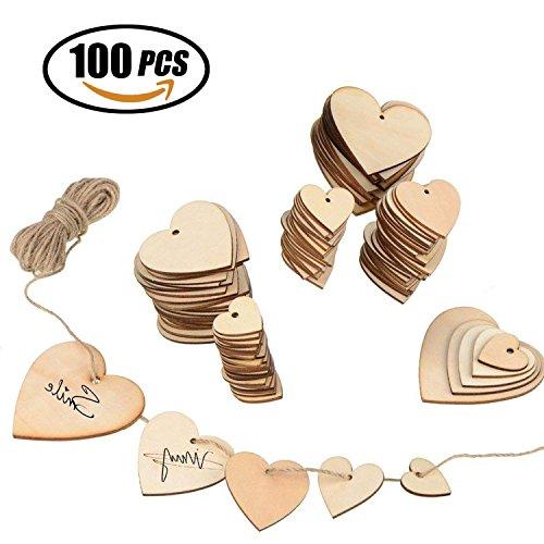 (Reastar Herz Holz Scheiben 100pcs Dekorative Holzanhänger Herz mit 10 Meter juteschnur für Hochzeitsempfang, Mittelstücke, Tischdekorationen und Veranstaltungen)
