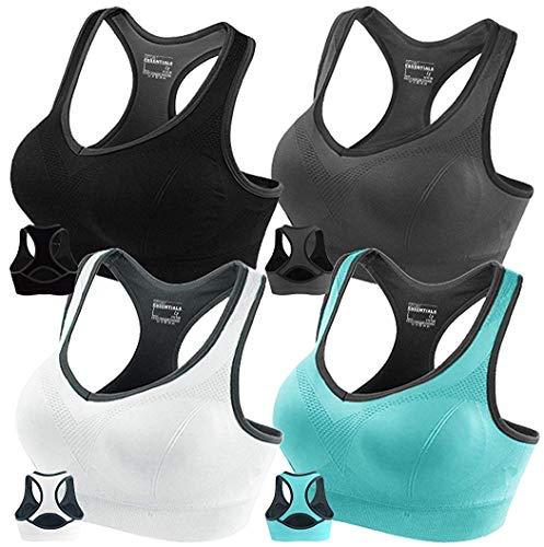 FITTIN Racerback Deportes Sujetador-Acolchado Seamless Alto Impacto Apoyo para Yoga Gimnasio Entrenamiento Fitness - Multi Color - L(Ajuste para El 75D 80C 80D 85A 85B 90A)