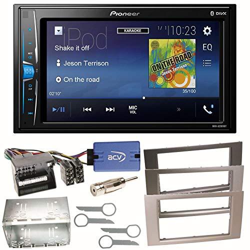 Pioneer MVH-A200VBT USB Bluetooth MP3 WMA Autoradio 2-DIN Moniceiver Einbauset für Ford Focus C-Max Fiesta Transit, Farbe der Radioblende:Silber Fusion Car Audio