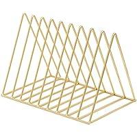 Estantería metálica de hierro forjado para escritorio, triángulo, para periódicos, revistas y revistas, estante de almacenamiento dorado para decoración del hogar, 26 x 18 x 18 cm, color dorado