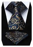 Hisdern Panuelo de lazo de boda Paisley floral Panuelo de corbata de hombre...