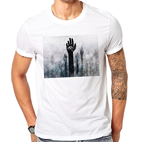 Illuminati Triangle Art Majestic Hands With Eyes Herren T-Shirt Weiß