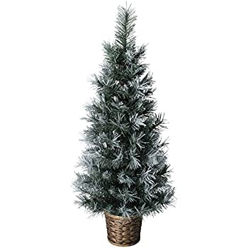 3ft 90cm artificial dark green frosted potted christmas xmas tree decoration - 3 Ft Christmas Tree