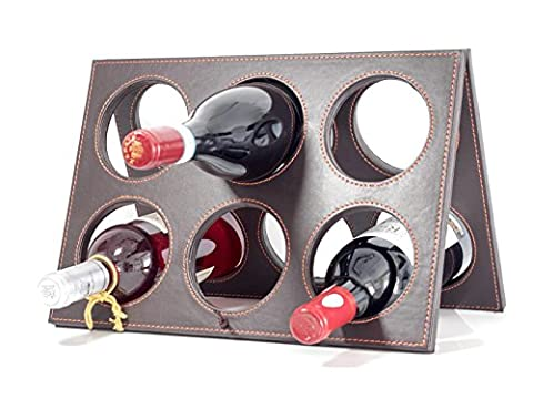 Wine Rack - Luxury Countertop 6 Wine Bottle Display by Trendy Bartender™ - Faux Leather Bottle Holder 14 X 8 x 10 Foldable/Lightweight/Sturdy - Elegant Design by Trendy Bartender