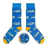 CUP OF SOX Herren Damen Lustige Socken mit Bulli in der Pappbecher - Gemusterte Bunte Geschenk Socken für VW Bus T1 Liebhaber - Socken aus hochwertige Baumwolle (Blau, 41-44)