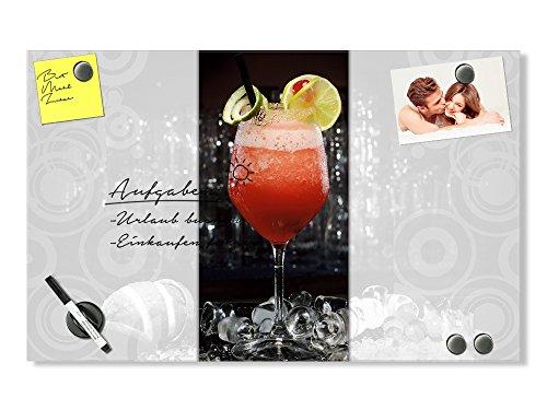 Schiefer-cocktail (GRAZDesign Magnettafel beschreibbar - Memo-Board Cocktail - Glas mit stylischen Retro - Kreisen, beschreibbar und magnetisch, Magnetwand für Notizen / 100x60cm)