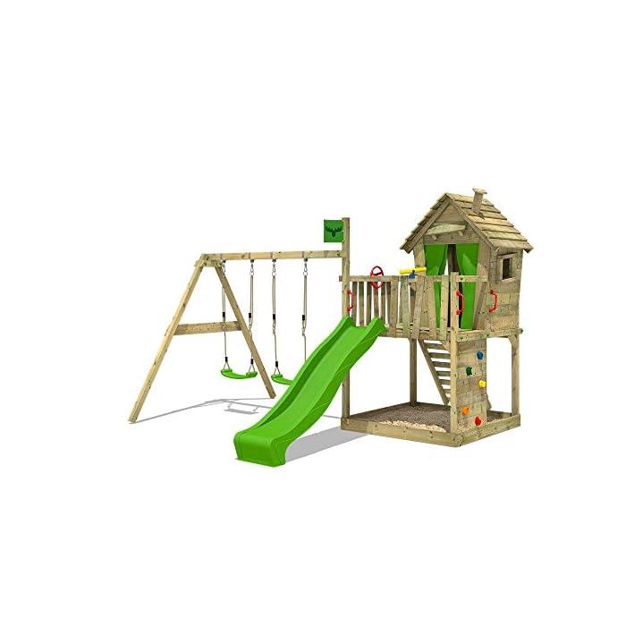 FATMOOSE Spielturm DonkeyDome Double XXL Stelzenhaus Kletterturm Baumhaus mit Doppelschaukel, Rutsche und großem…