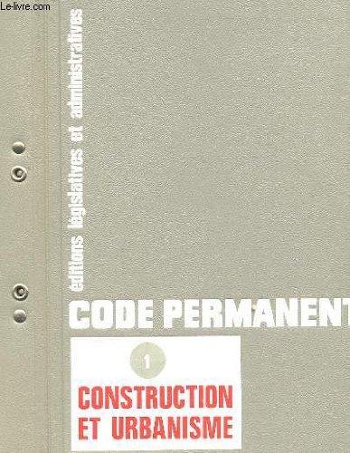 CODE PERMANENT, CONSTRUCTION ET URBANISATION 1