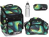 4er SET: NITRO Bandit Schulrucksack + Sporttasche Duffle Bag + Mäppchen Pencil Case + CO2 Flasche / GEO GREEN