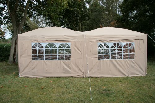 Airwave 6x3mtr FULLY WATERPROOF Pop Up Gazebo BEIGE with Six Side Panels and Carrybag