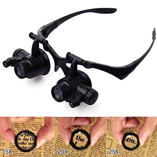 WER Lupenbrille mit 2 LED's und 4 Lupeneinsätzen Uhrmacher 10x 15x 20x 25x