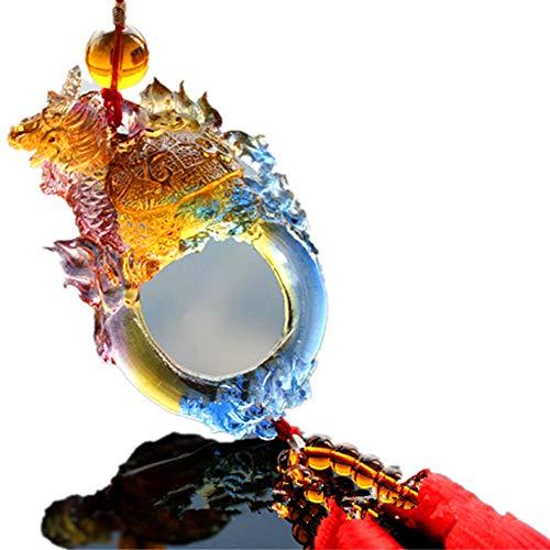 Fengshui Auto-Rückspiegel, mit Quasten, zum Aufhängen, Farbiger Glasur, Drache/Schildkröte, Glas, gelb