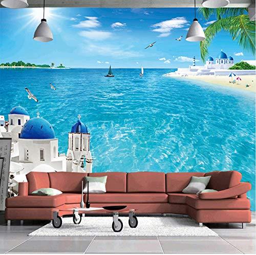 VVNASD 3D Wand Dekorationen Tapete Wandbilder Aufkleber Raum Landschaftswohnzimmer Sofa Background Aegean Sea Landschafts Kokosnuss Baum Strand Kunst Mädchen Zimmer (W) 400X(H) 280Cm