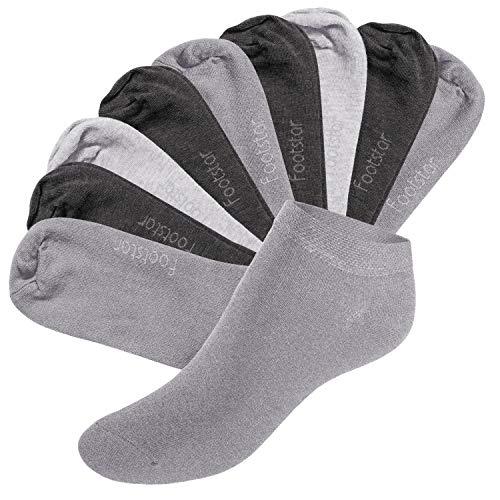 Footstar SNEAK IT! - 10 pares de calcetines tobilleros unisex - Gris clásico 35-38