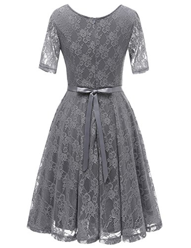 Bbonlinedress Damen Retro Vintage 1950er Rockabilly Cocktail Spitzenkleid Grey 2XL - 3