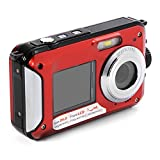 XCSOURCE FHD 1080P Double Screens Waterproof Digital Camera with 2.7-Inch + 1.8-Inch Dual LCD Easy Self Shot Camera (Red)