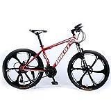 Lisi Vélo de Montagne Adulte 26 Pouces 30 Vitesses Une Roue Tout-Terrain à Vitesse Variable absorbeur de Choc Hommes et Femmes vélo vélo,Pink