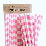 Confezione da 100 linee rosa retrò cannucce di carta compleanno & partito & matrimonio