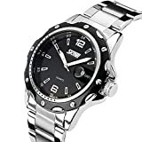 CIVO-Mens-Big-Face-Sports-Luxury-Waterproof-Stainless-Steel-Band-Date-Calendar-Military-Analogue-Quartz-Watches-Men-Casual-Business-Classic-Simple-Design-Fashion-Dress-Wrist-Watch-Black-Dial